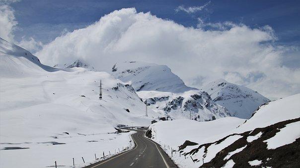 Mountains, Snow, Beautiful, Peak, Highway, Steep