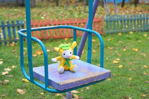 Swing, Toy, Autumn, Yard, Ride, Empty, Sadness
