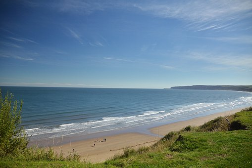 Seaside, Beach, Sand, Sky, Sea, Water, Filey, Grass
