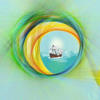 Digital, Porthole, Sea, Seegel, Round, Rendered