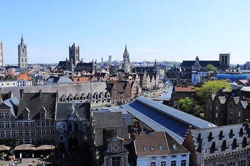 Belgium, Ghent, Gent, Sky, City, High