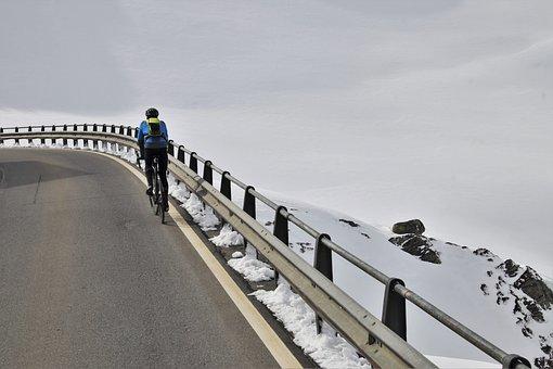 Snow, Mountains, Bike, Extreme, Alpine, Steeply