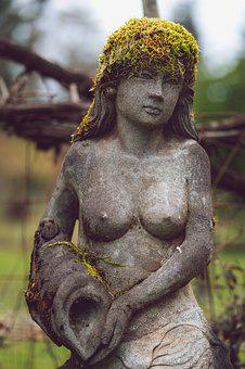 Statue, Moss, Lady, Outside, Woman, Female, Spring