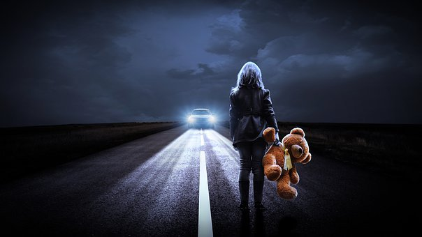 Girl, Child, Teddy Bear, Toys, Road, Highway, Run