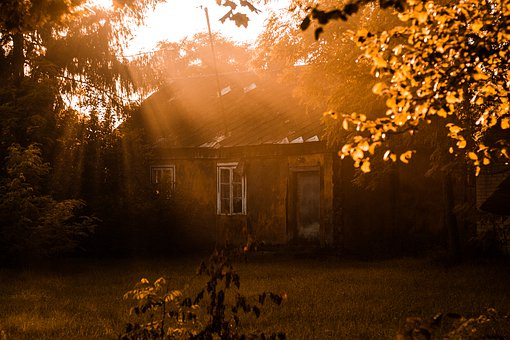 Nostalgia, Village, Holidays, Sunset, Orange