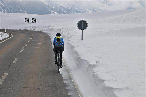 Highway, Asphalt, Bike, Mountains, Extreme, Snow, High