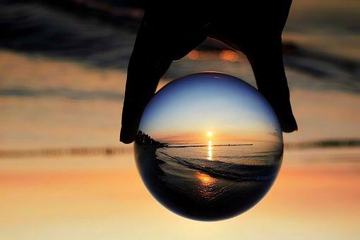 Glass Ball, Sunset, Beach, Seagull, Bird, Nature