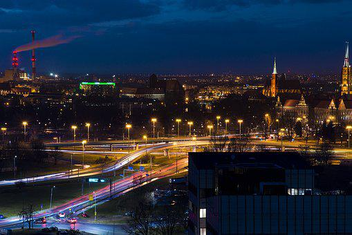 Poland, Wroclaw, Evening, City, Architecture