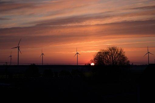 Sunrise, Sky, Coroful Sky, Windmills, Turbine