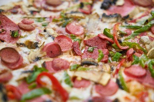 Pizza, Dough, Salam, Sausage, Meat, Food, Delicious