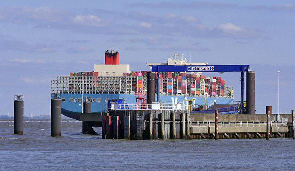 Large Shipping, Container Ship, Elbe