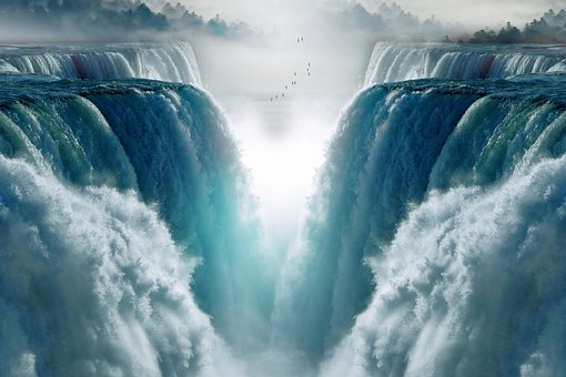 Waterfalls, Water, Landscape, Fantasy, Fog, Light