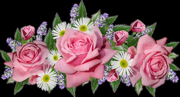 Flowers, Roses, Daisies, Lavender, Arrangement, Garden
