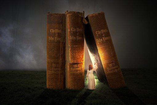Woman, Person, Lantern, Light, Old Books, Read, Learn