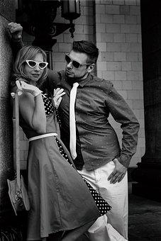 Mods, Model, Couple, Meet, Sunglasses, Lips, Hugs