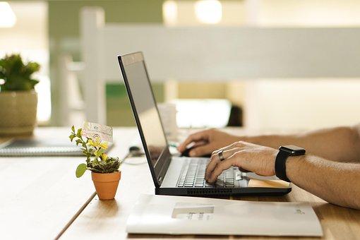 Desk, Hands, Typing, Office, Laptop, Computer, Job