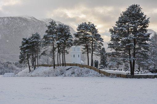 Winter, Church, Snow, Pine, Outdoor, Landscape, Quiet