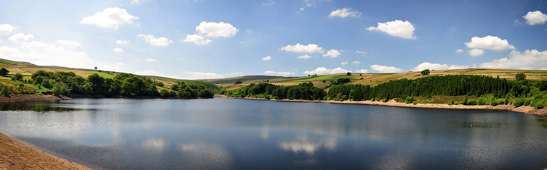 Reservoir, Water, Digley, Holmfirth, Sky, Trees