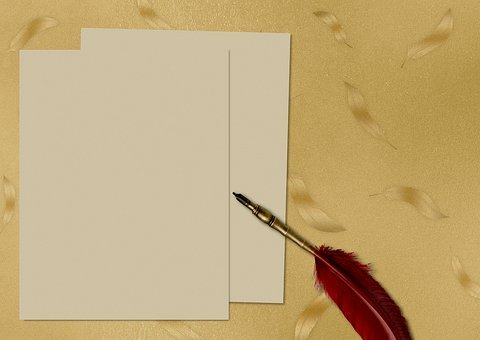 Paper, Pen, Feather, Gold, Texture, Background Image