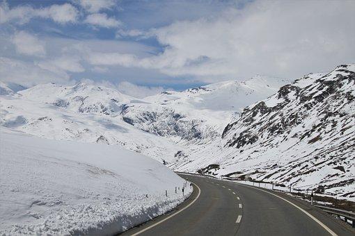 Biel, Snow, Mountains, The Silence, Highway, Peak