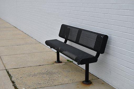 Bench, Urban, Park, Concrete, Brick