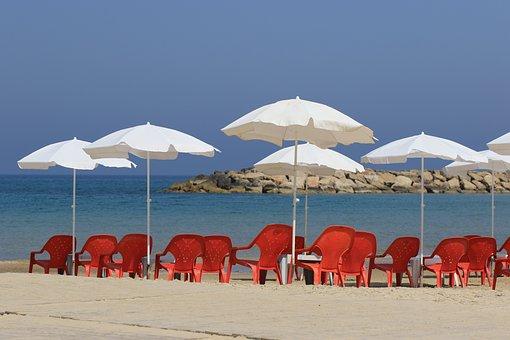 Beach, Sea, Beach Chairs, Umbrellas, Vacation