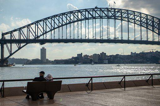 Couple, Bench, Sydney, Harbour, Bridge, Sitting, People