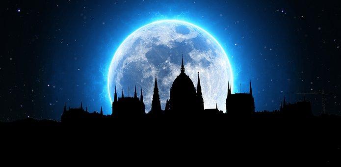 Night, Moon, City, Hungary, Budapest, Dark, Blue