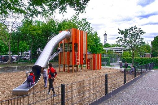Playground, Slide, Tube, Children, Supervisor