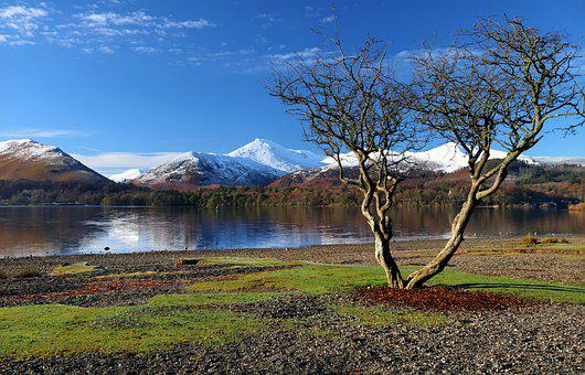 Derwent Water, Cumbria, Winter, England, Lake, Keswick