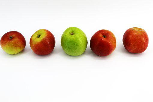 White, Background, Yellow, Apples, Four, Fruits, Black