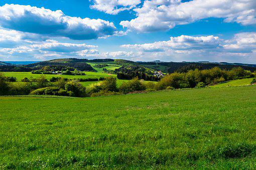 Meadow, Pasture, Hill, Sky, Clouds, Hills, Highlands