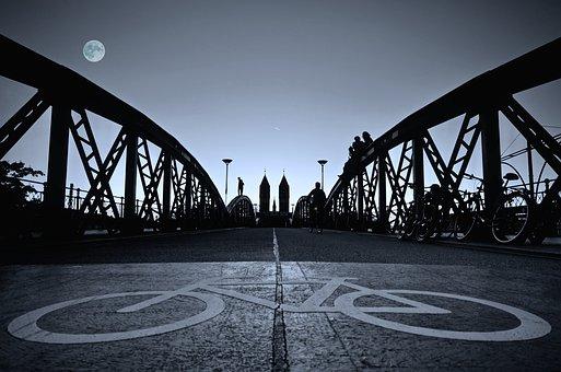 Bridge, Bike, Human, Sky, Full Moon, Evening