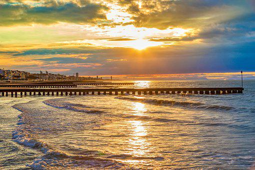 Sunrise, Clouds, Italy, Jesolo, Sky, Sea, Beach