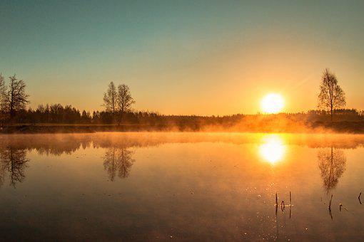 East, Pond, The Fog, Water, Yellow, Nature, Lake