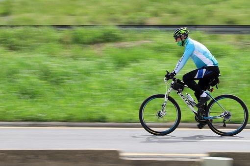 Bike, Riding, Fun, Man, Sport, Cyclist, Panning