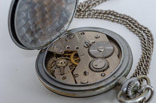 Pocket Watch, Watch, Gusset, Retro, Mechanism, Macro