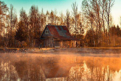 House, Pond, The Fog, Yellow, Morning, In The Morning
