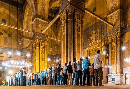 Pray, Sultan Hassan Mosque, Ramadhan, Night, Brown Pray
