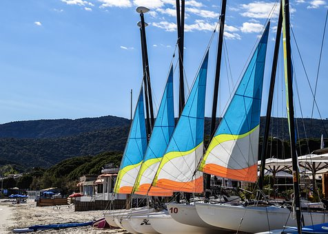 Sailboat, Sail, Blue, Sky, Clouds, Colorful, Riviera