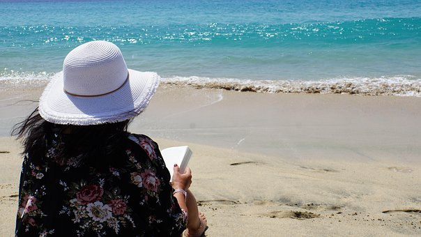 Woman, Sea, Book, Read, Hat, Ocean, Fuerteventura