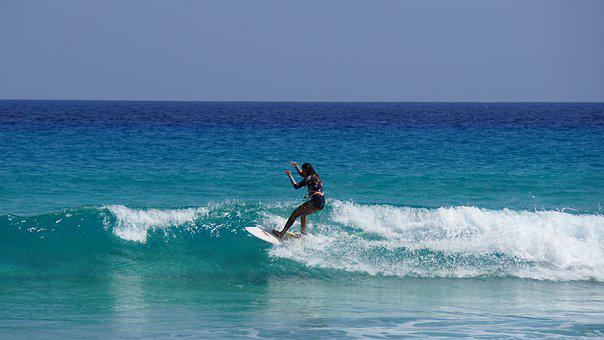 Surfer, Woman, Surfboard, Wave, Ocean, Sea
