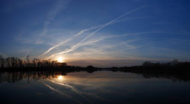 Lake, Sunset, Sky, Reflection, Peaceful, Evening