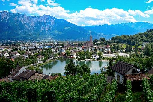 Vineyard, Mountain Lake Will Be, Switzerland, City