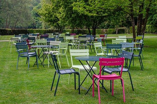 Table, Chair, Color, Terrace, Grass, Green, Garden