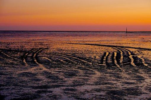 Watts, Ebb, Traces, Abstract, Wadden Sea, North Sea