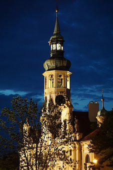 Church, Night, Prague, Architecture, Light, Building