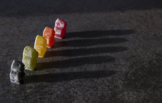 Jelly Babies, Sweets, Confectionary, Line, Shadow