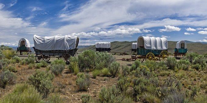 Oregon Trail, Covered Wagon, Prairie, Panorama