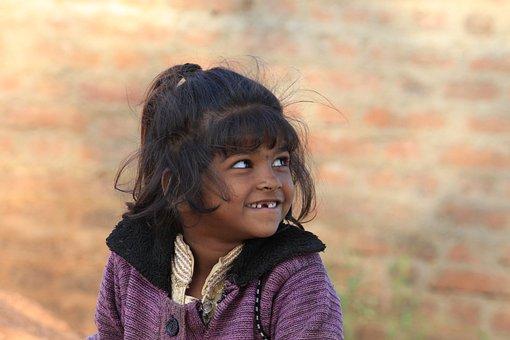 Poor Girl, Happy, Girl, Poverty, India, Cute, Happiness